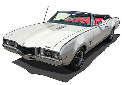 Oldsmobile 1968 Cutlass Convertible canvas art print by Richard Browne
