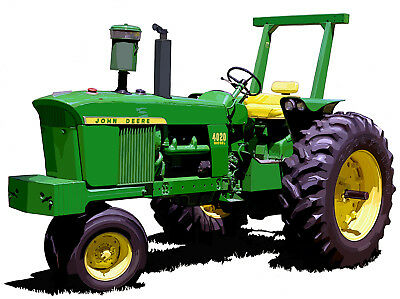 John Deere Model 4020 diesel canvas art print by Richard Browne farm tractor