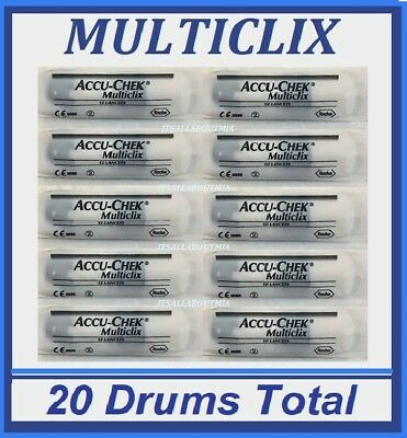 New 120 MULTICLIX LANCETS Total, (10 Sealed Packs of 2 Drums), ACCU-CHEK