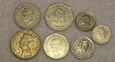 set of 7 different coins from El Salvador
