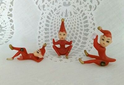 "*Pixies*Elves*Red*Plastic Miniature Christmas Dollhouse 2"" Fairy Garden Lot of 3"