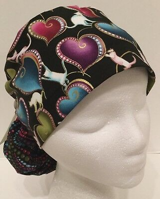 Heart and Cat Print Medical Ponytail Pouch Scrub Cap Surgery Hat
