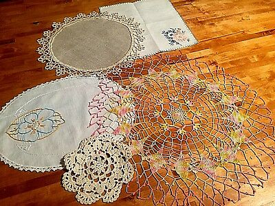 Vintage Fancywork Doilies Crochet and Embroidered, Lot of 5