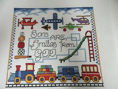 Finished Cross Stitch Sons Smiles From God Completed Trains Planes 12x12 Boy