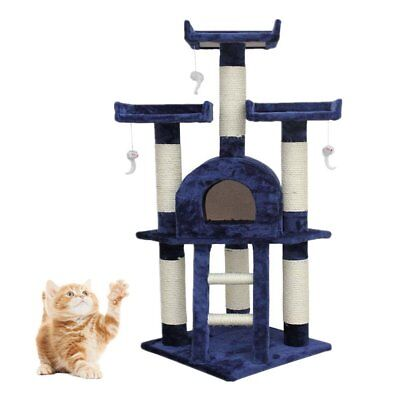 Cat Tree Scratching Post Activity Centre Bed Toys Scratcher Blue 115cm NEW