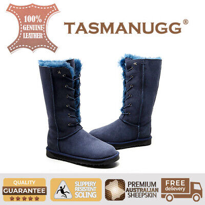 Tasman UGG-Eskimo Tall UGG lace up boots, Premium Australian Sheepskin,Navy cl