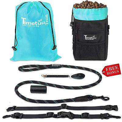 Dog Treat Pouch Plus clicker, Built-in Poop Bag Dispenser, Training Rope Leash