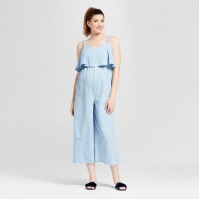 New with tags, Isabel Maternity one piece jumpsuit romper blue sz small