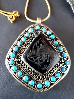 Old Tibetan Hand Made Pendant in Local Silver with Black Carved Local Stone…
