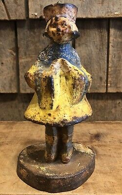 Antique Collectible Hubley Cast Iron Oriental Japanese Statue Door Stop 8""
