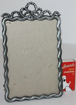 Vintage Pewter Frame Celtic Knot Scallop Rim Glass Stand Photo Solid 15.5 x 10cm