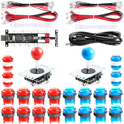 2-Player DIY Arcade Kit 2x USB Encoder + 2x Joystick + 20x LED Arcade Buttons