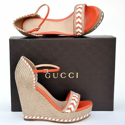 8dd210a9b2d GUCCI New sz 38.5 - 8.5 Platform Wedge Heels Womens Sandals Shoes Espadrille