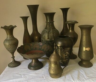 Brass Vase Etched & Various Brass Items 10 Items In Total Very Good Condition