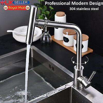 Stainless Steel Kitchen Sink Mixer Tap Faucet Bathroom Basin Single Lever Tap UK