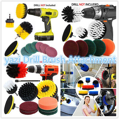 Tile Carpet Power Scrubber Drill Brush Attachment Tub Cleaning Supplies Set Kit