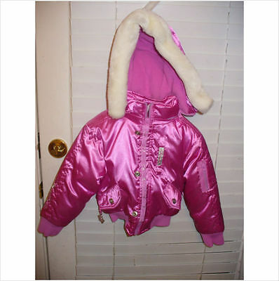 Girls Princess Ski Jacket Coat With Removable Hood~New~Thick Fleece Lined Inside