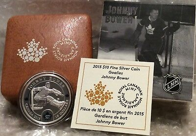 Johnny Bower $10 2015 Silver Proof Coin Canada, NHL Goalies, Toronto Maple Leafs