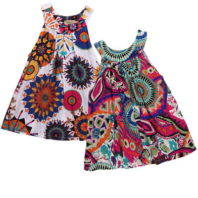 Toddler Kids Baby Girl Sleeveless Floral Party Pageant Dress Sundress Clothes
