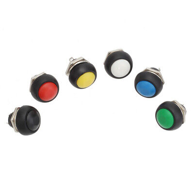 6pc Mini 12mm Waterproof Momentary ON//OFF Push Button Round Switch Colorf QTH