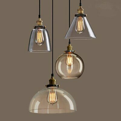 Modern Vintage Industrial Retro Loft Bar Glass Ceiling Lamp Shade Pendant Light