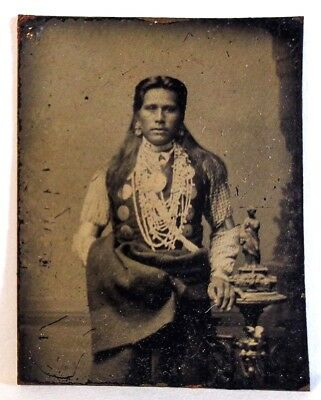 Rare Mid-Late 19Th C Antique Small Tintype Of Native American In Tribal Dress