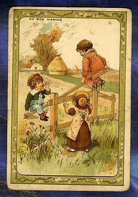 Chromo Au BON MARCHE bm61 Trade Card Balançoire Swing Testu massin enfant Child