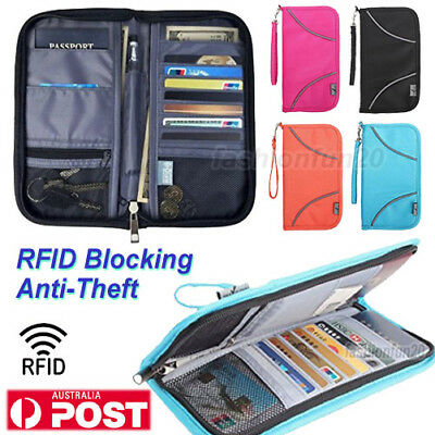 Large RFID Blocking Anti Scan Travel Wallet Passport Credit Card Holder Pouch