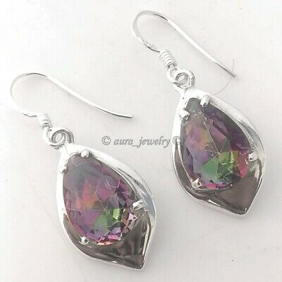 925 Sterling Silver Handmade Mystic Topaz Gemstone Filigree Earrings Jewelry