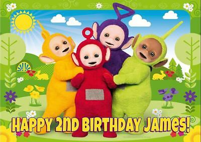 XL TELETUBBIES A4 size PERSONALISED BIRTHDAY CARD - ANY NAME AGE RELATION
