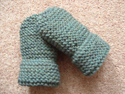 Children's Hand Knitted Mittens, Olive Green Fleck, Acrylic Wool, 2-4 Years New