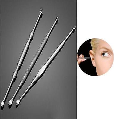 3x Stainless Steel Ear Pick Wax Curette Earpick Removal Cleaner Remover Tool YI