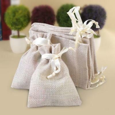 Natural Linen Pouch Drawstring Bag Burlap Jute Sack Jewelry Gift Wedding YI