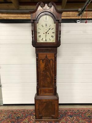 Antique Flamed Carved Mahogany Grandfather Clock