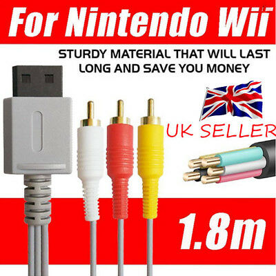 Audio Video AV Composite 3RCA Cable TV Lead Wire For Nintendo Wii Game UK