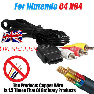 RCA Video Cable for N64 Gamecube & SNES Super Nintendo AV Cable TV Game Wire UK