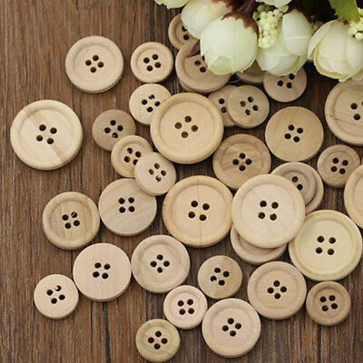50 Pcs Scrapbooking Mixed Wooden Buttons DIY Round 4-Holes Natural Color Sewing