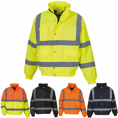 Hi Vis High Viz Waterproof Safety Security Workwear Classic Bomber Jacket S-6XL
