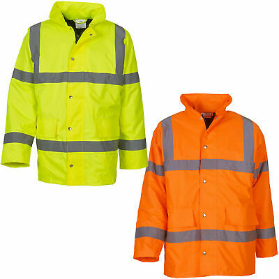 Hi Vis High Viz Waterproof Safety Workwear Hooded Classic Motorway Jacket S-6XL