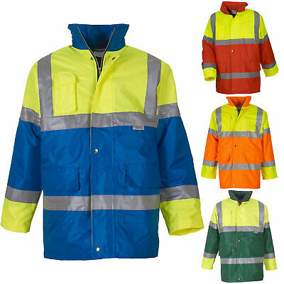 Hi Vis High Viz Waterproof Ride Fair Car Park Attendant Contrast Jacket S-3XL