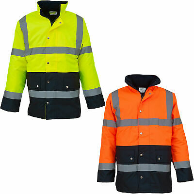 Hi Vis High Viz Waterproof Padded Two Tone Safety Workwear Motorway Jacket S-3XL