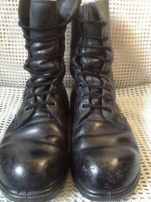 Genuine British Army Issue DMS Black Boots Combat High Leg Size 7L Cold War 80s
