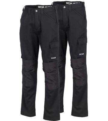 JCB Essential TWIN PACK Cargo Work Trousers Black (Various Sizes) Men's Trade