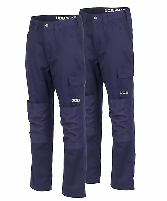 JCB Twin Pack Essential Cargo Work Trousers Navy (Various Sizes) Men's Trade