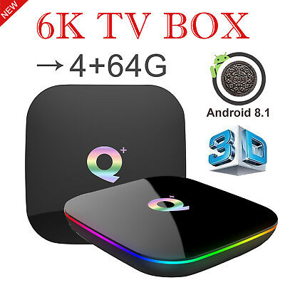 2019 6K 4+64GB Q Plus Smart TV Box Android 8.1 Quad Core WIFI USB3.0 H.265 Media