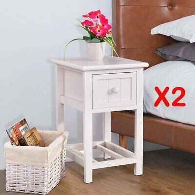 Pair of Shabby Chic White Bedside Tables Drawers w/ Wicker Storage Cabinet UK