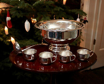 A Superb Quality Vintage Silver Plated Punch Bowl with Ladle and Cups