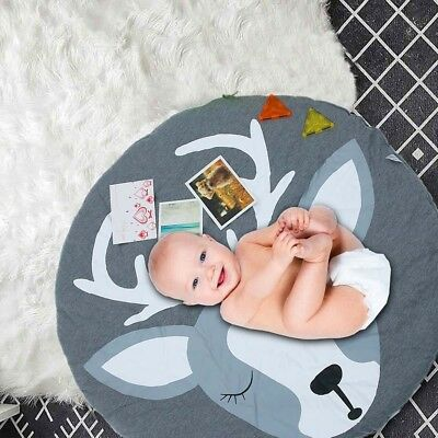 Crawling Blanket Floor Rug Cute Soft Cotton Baby Kids Game Gym Activity Play Mat