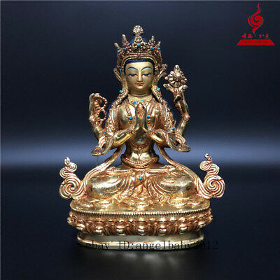 "9"" China Tibet old copper gilt inlay Turquoise Buddhism Four arm Guanyin statue"