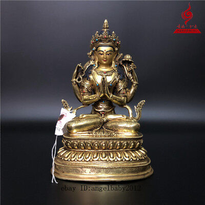 "9"" China Tibet old bronze copper gilt Buddhism Four arm Guanyin Buddha statue"